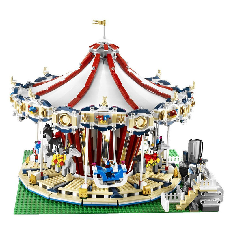 Compatible Legoe 10196 10257 Lepin 15013 15036 15036B light City Street Carousel building blocks bricks toys for childre lepin 15013 city street carousel model building kits assembling blocks toy legoing 10196 educational merry go round gifts