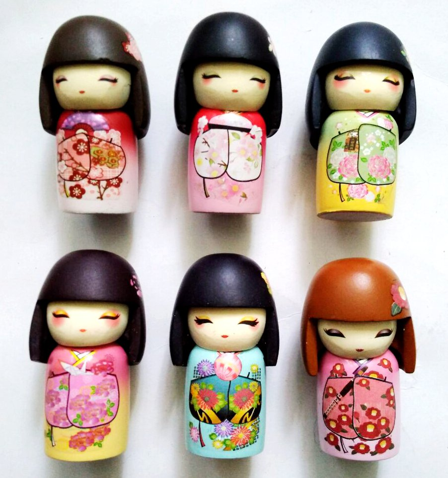 Handmade Painted Cute Japan Kimono Doll 3D Fridge Magnets Tourism Souvenirs Refrigerator Magnetic Stickers Home Decortion