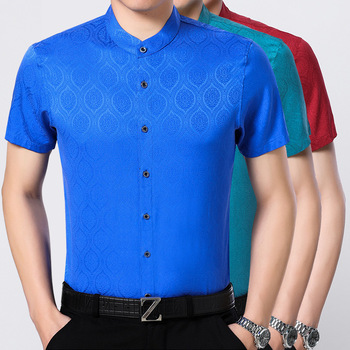 Collar  Lattice 92% Silk Heavy Sand Xian Xian Half Sleeves Satin Shirt Male Silk Shirt Short Sleeves