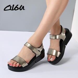 a14ebf105064 O16U Summer Leather Women shoes Platform Sandals Female
