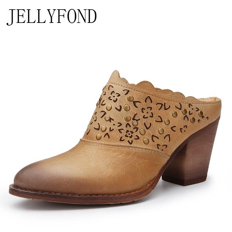 Genuine Leather Platform High Heels Slippers Women Rivets Studded Handmade Shoes Vintage Style Pointed Toe Outside Slides