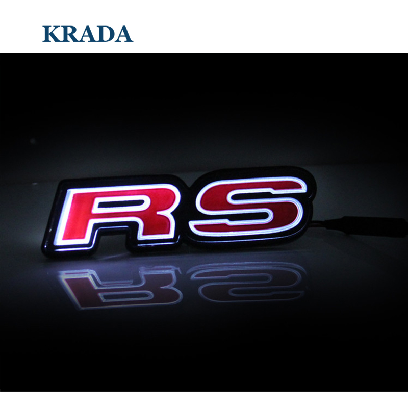Car Styling RS Logo Car Front Hood Grille Emblem LED Light for Audi A5 A4 B6 B7 B5 A3 Q7 Q5 A1 A6 C5 C6 Tt Q3 S4 S5 RS5 S8 S6 S7