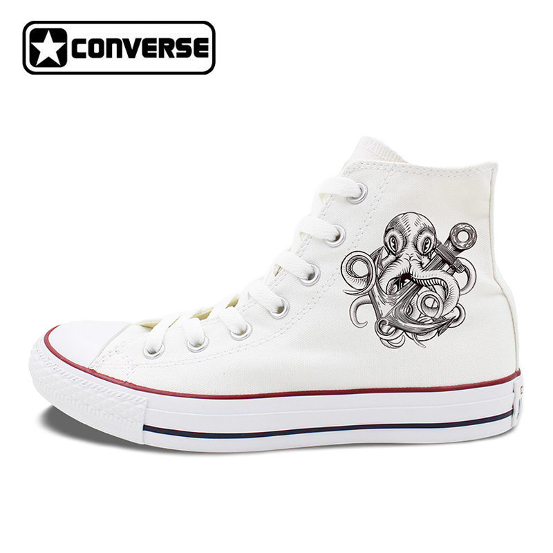 Unisex White Black Converse All Star Skateboarding Shoes Original Design Octopus Anchor Men Women's High Top Canvas Sneakers