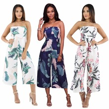 New summer Russian fashion personality wrapped chest straight sexy print loose wide leg casual womens jumpsuit