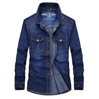 Plus Size M 5XL Retro Classic Denim Shirt Men Brand Mens Tops Pockets Leisure Long Sleeve