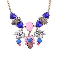 2015 Vintage Luxury Brand New Purple Crystal Necklace Gold Chain Choker Statement Necklaces Pendants Rhinestone Bib