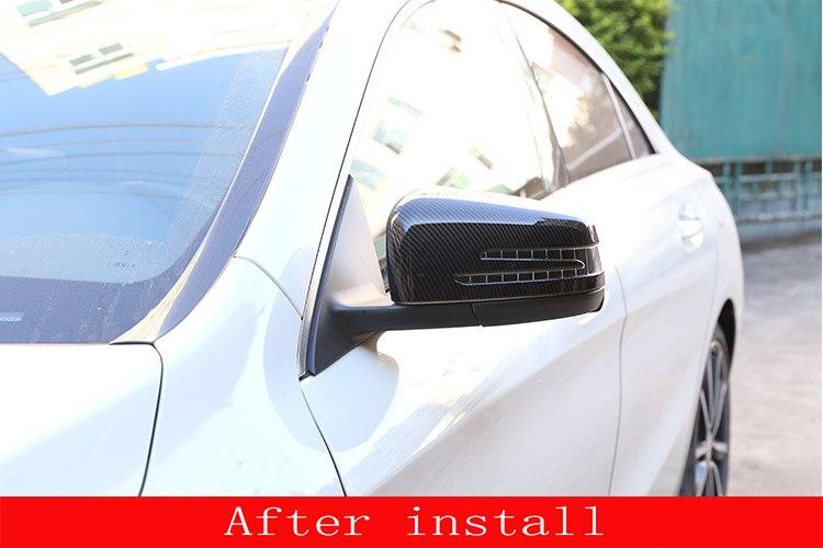 2 pièces fibre de carbone ABS côté porte rétroviseur couvercle garniture pour Mercedes Benz A CLA GLA GLK classe W176 W117 X156 X204