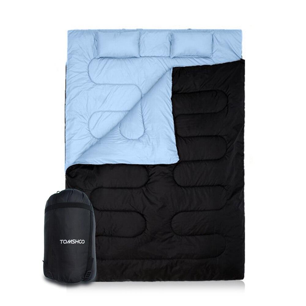 """TOMSHOO спальный мешок 2 в 1 86x60 """"2 человек зимний спальный мешок Открытый Кемпинг двойной спальный мешок с 2 Подушки мешок для хранения"""