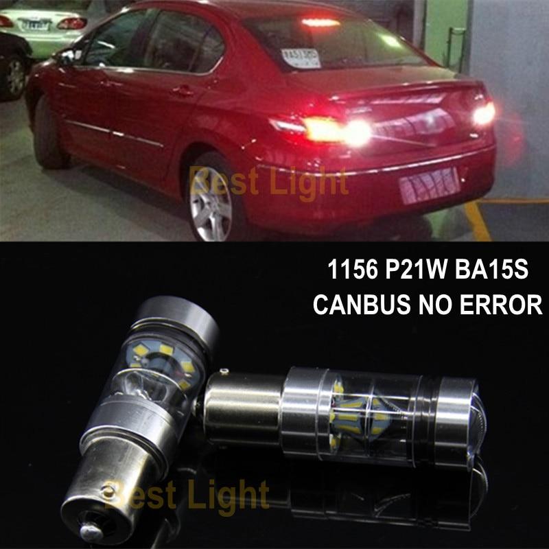 2x 1156 P21W BA15S Canbus No Error Bright SHARP Chip LED Bulb Backup Reverse Light For Peugeot 206 207 307 308 406 407 507 508