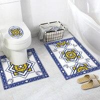3pcs mogo pattern bathroom anti skid waterproof decorative wall PVC environmental self adhesive toilet Non slip floor sticker