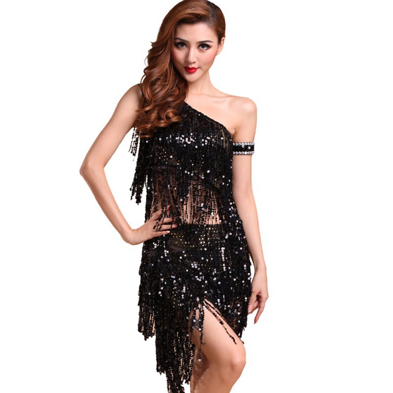 Sexy Women Backless Sequins Tassels Cocktail Clubwear Latin Jazz Ballet Dance Top Skirt Suit H
