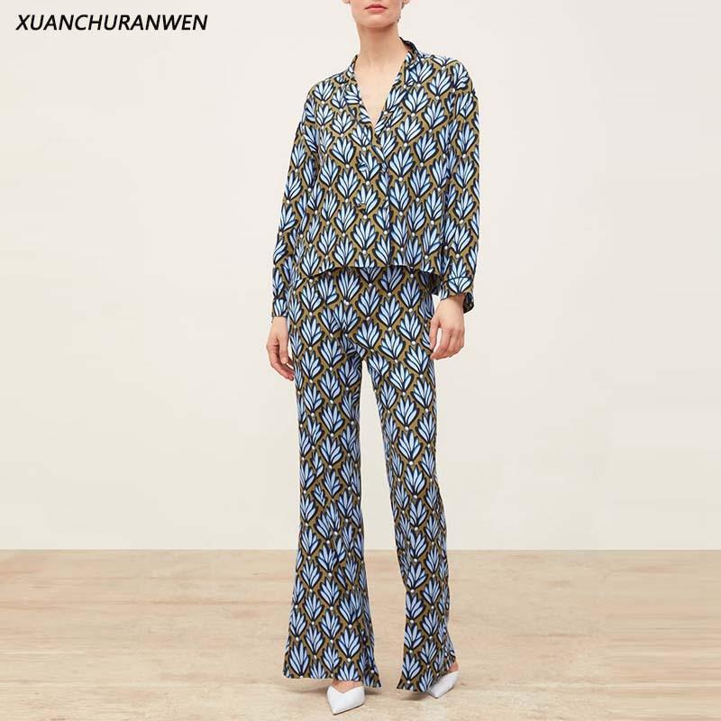 Women Fashion Blouse Pants Set Long Sleeve Shirt High Waist Pants Trousers Suits Sets Slim Tops + Pants Set XZ1969 1970