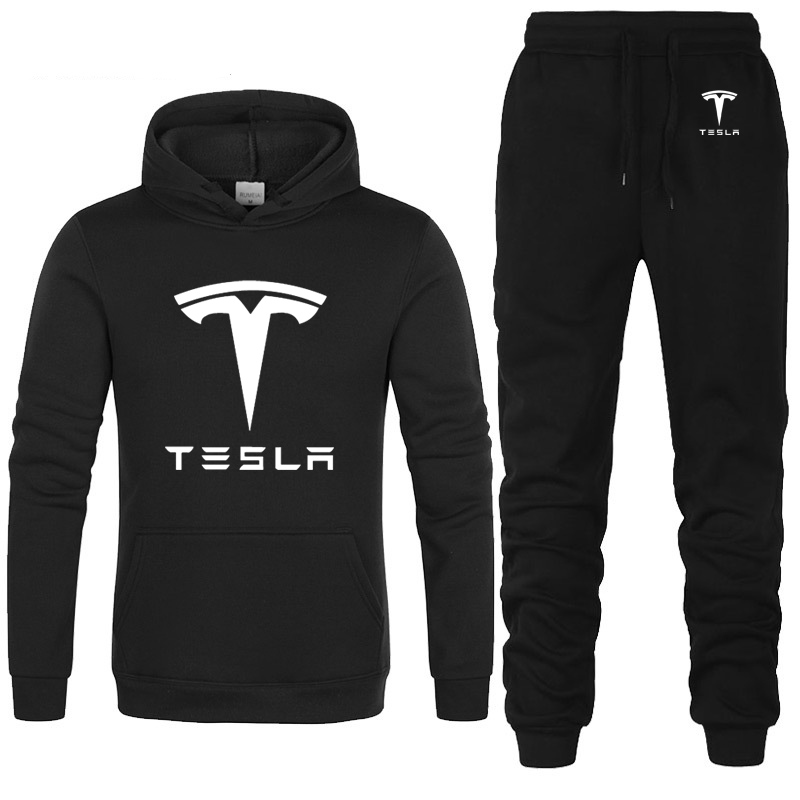 Hoodies Men Tesla Car Logo Printed Unisex Sweatshirt Fashion Men Hoodie Hip Hop Harajuku Casual Fleece Hoodies Pants Suit 2Pcs