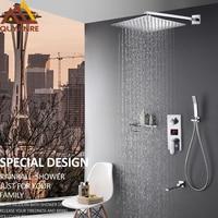 Quyanre настенное крепление Ванная комната Смесители для душа 3 функции светодиодный цифровой Дисплей Душ смеситель дождь Насадки для душа скр