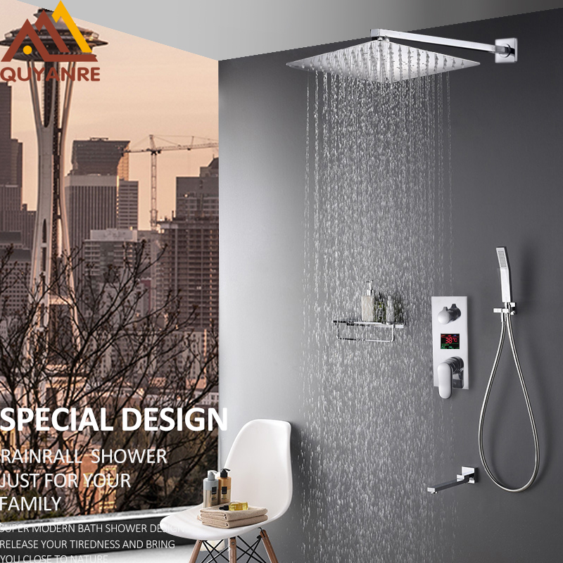 Quyanre Wall Mount Bathroom Shower Faucets 3 Functions LED Digital Display Shower Mixer Tap Rain Shower Head Conceal Bath Shower