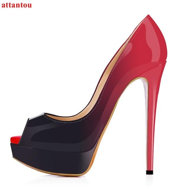 Plataforma Traje De Rojo Peep Zapatos Picture Mujer Mujeres Señora Fino As Toe Fiesta vestido Tacón Slip Las Stiletto Alto 6zdF6qrSw