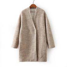 Autumn And Winter Coat Female 2016 Women Fashion Cashmere Wool Coat Long Woolen Outerwear Trench Coats Free Shipping tops