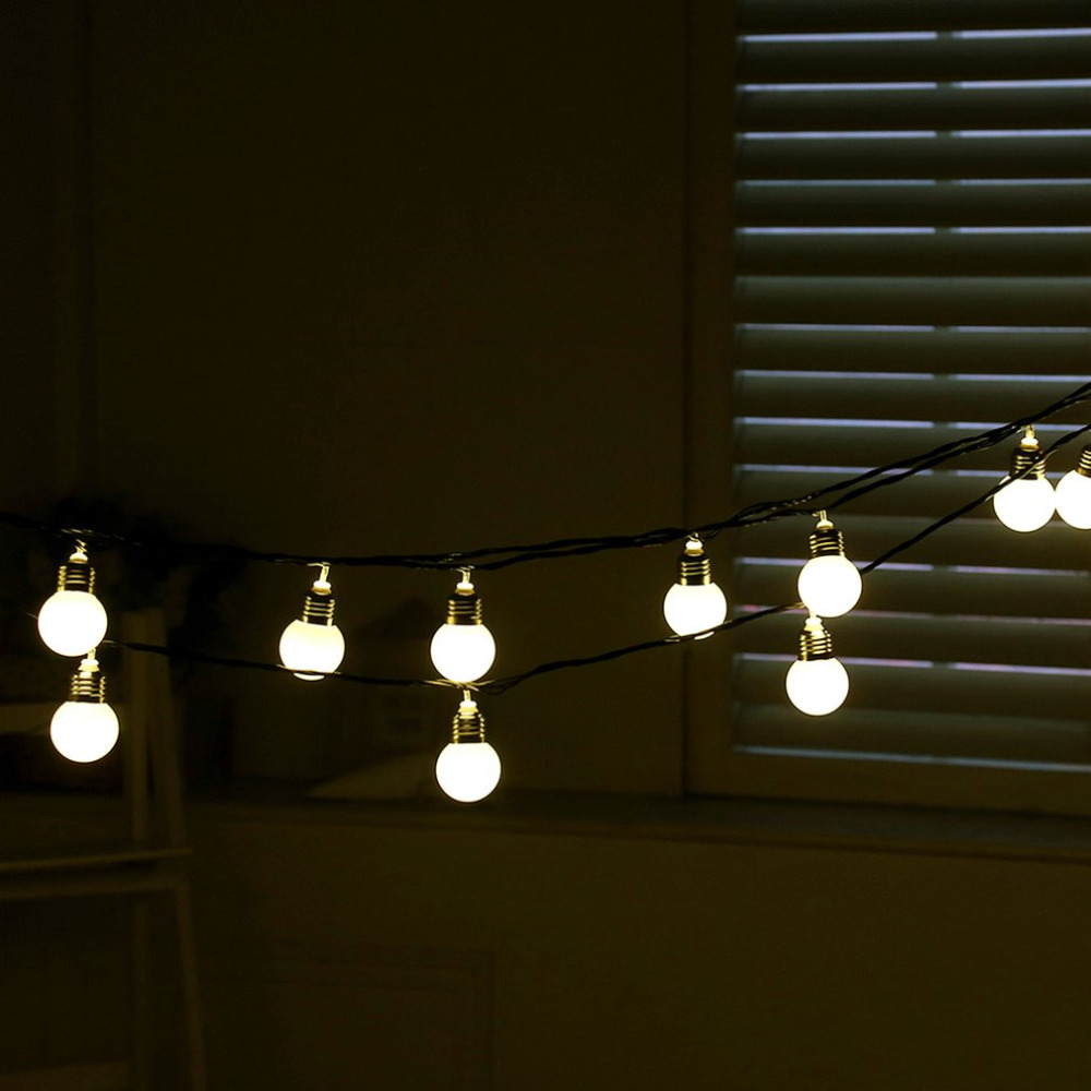 6M 20LEDs Hook Round Bulbs Festoon Party Fairy String Lights for Indoor Outdoor with Milky White Lampshade BZ531 ...