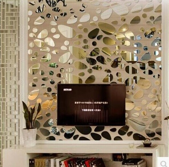 new design new style 3D stone oval acrylic mirror wall sticker ...