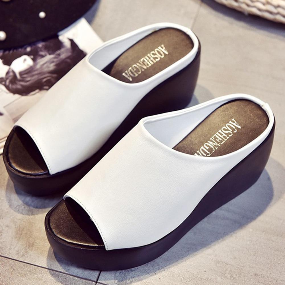 PromoteWomen Sandals Slides-Shoes Wedge Platform Mules Open-Toe White Large-Size Black Summer¼