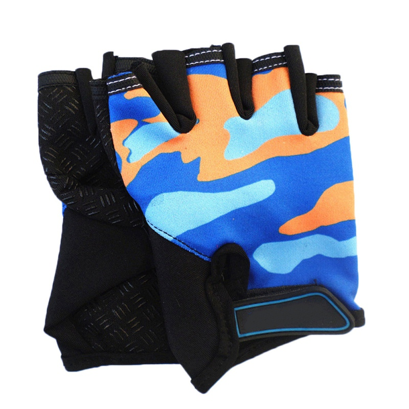 High Elastic Breathable Non-slip Child <font><b>Bike</b></font> <font><b>Gloves</b></font> <font><b>Children</b></font>\'s Half Finger Colorful Camouflage Cycling <font><b>Gloves</b></font> Riding Equipment H image