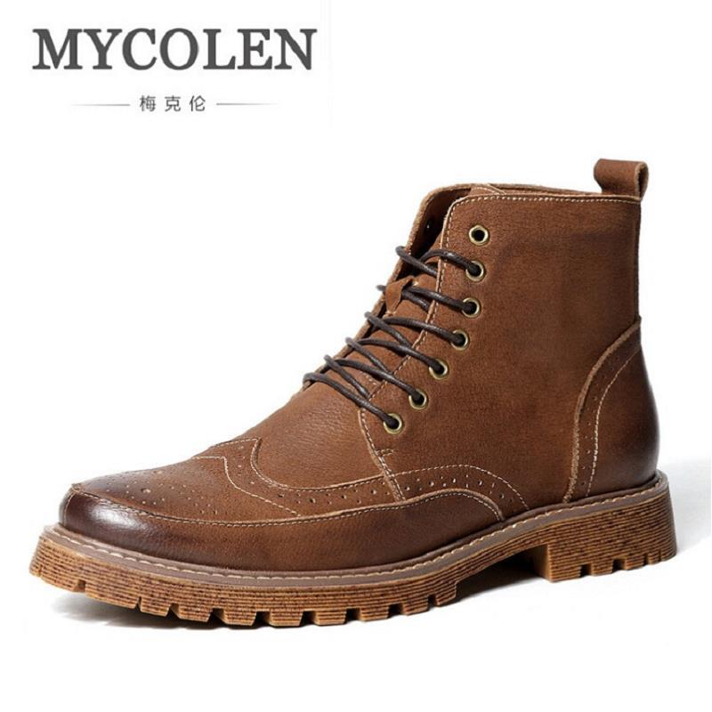 MYCOLEN Retro Genuine Leather Black Men Boots Bullock Carved Zip Martin Boots Retro Man Lace Up Soliders Winter Boots marmot lightweight zip neck ls cocona man black afterdark
