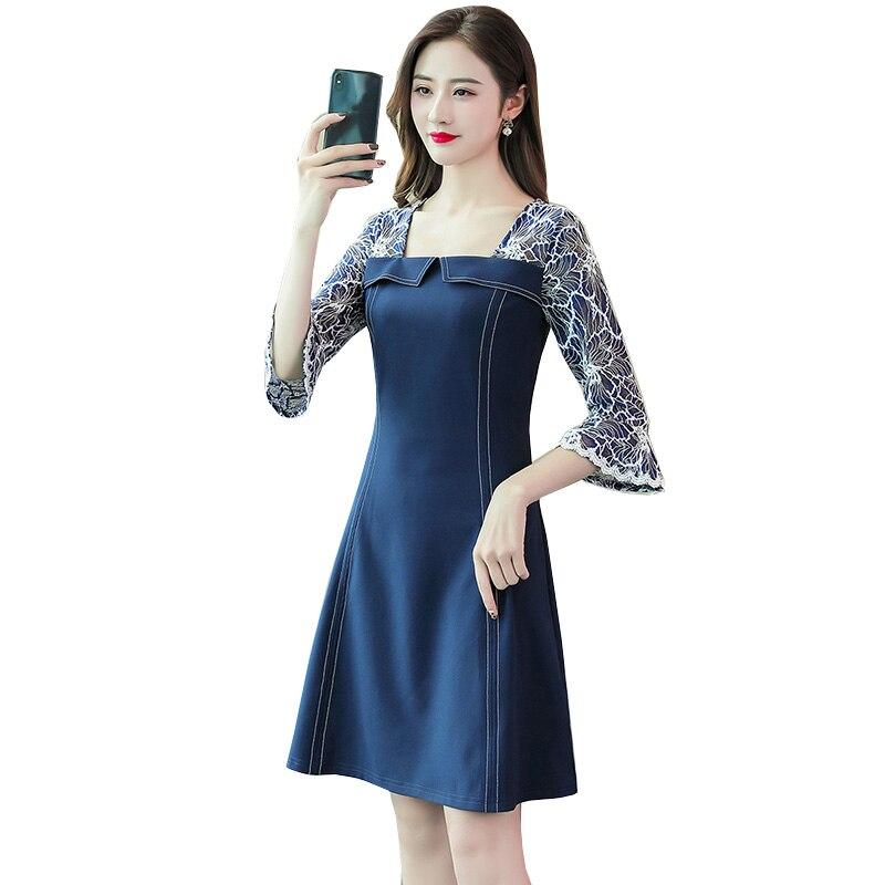 Été femmes robe 2019 mode élégante fleur imprimer dentelle robe femme Vintage Streetwear Midi fête robes de grande taille 5XL