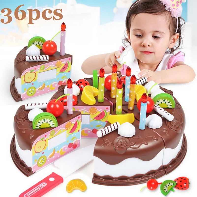Kitchen Toys Cake Food DIY Pretend Play Fruit Cutting Birthday Toy boys Girls Gift for Children Plastic Educational Baby kids