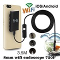 New Arrival High Quality WiFi For iOS Android Endoscopes 720P 2.0MP 8mm 3.5M LED Tube Snake Inspection Camera Mini Camera