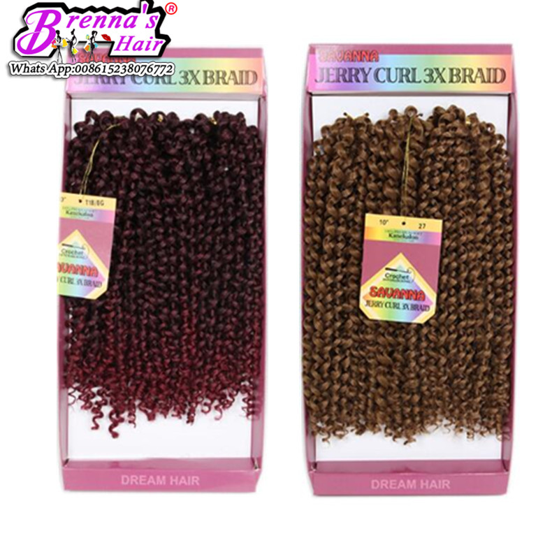 Synthetic jerry curly braiding hair Box braids hair Curly Weave kinky curly water wave ombre braiding hair grey color natural