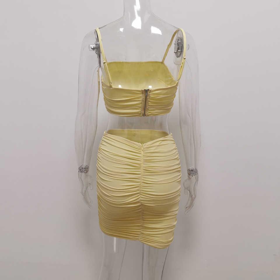 JillPeri Hoàn Hảo Phù Hợp Với Vàng Pastel Vải Xếp Crop Top và Chân Váy 2 Bộ Gợi Cảm Không Tay Lưới Co Giãn Bộ Trang Phục Mùa Hè 2 bộ Bộ