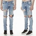Mens Fear of God Jeans homme ripped justin bieber jeans brand denim pants mens hip hop biker skinny men jeans pants slim fit man
