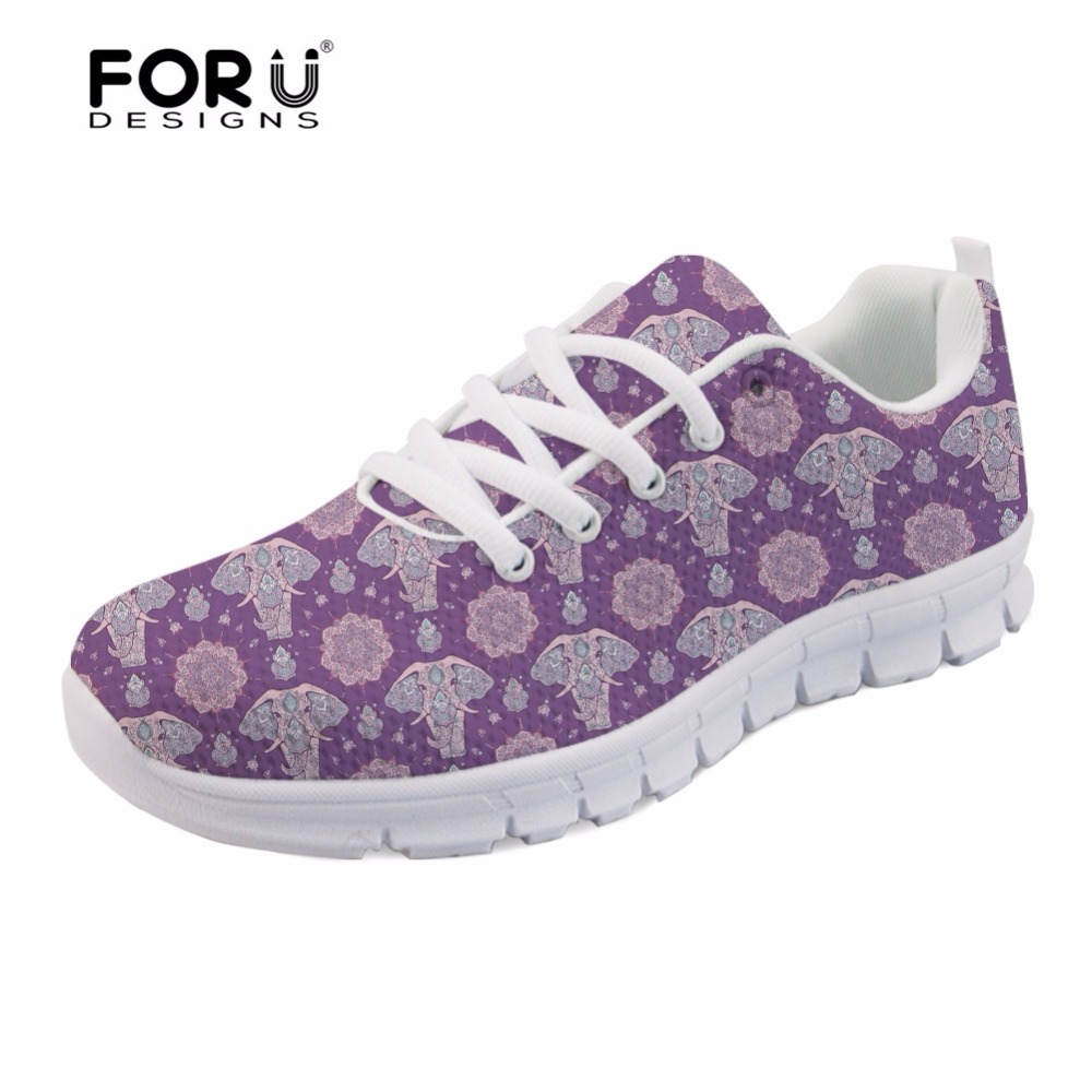 FORUDESIGNS Cute Women Flats Sneakers Animal Zen Elephant 3D Print Casual Cartoon Shoes Woman Student Comfortable Walking Shoes instantarts cute poodle dog pattern sneakers women s casual flats air mesh walking shoes ladies student outside shoes zapatos