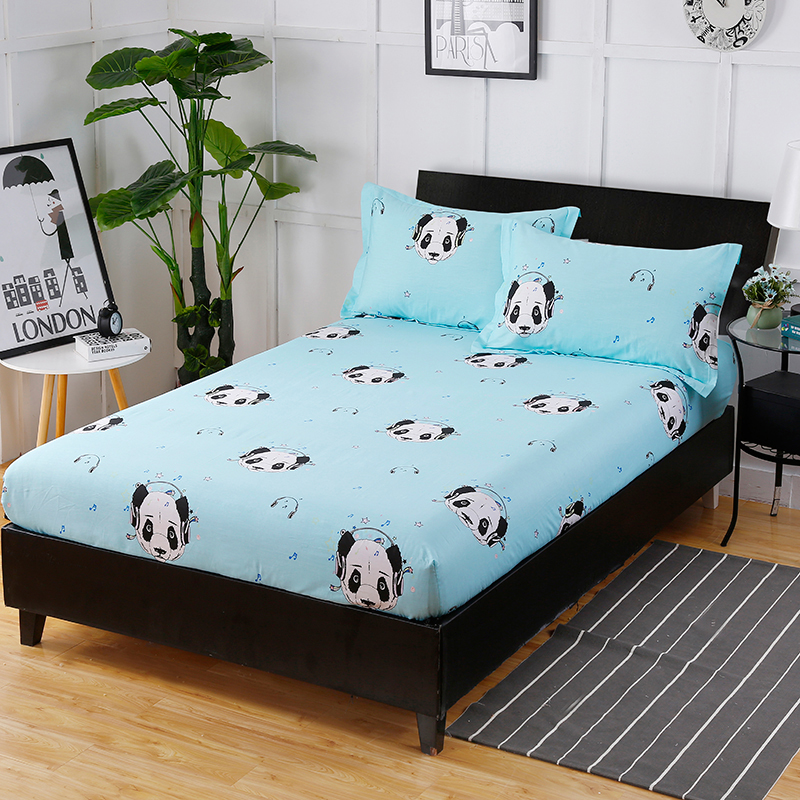 High Quality Hot And Comfortable Soft And Elegant Small Panda Pattern Fitted Sheet + Pillowcase Comfortable And Breathable