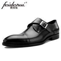 Новинка 2018 года; модная мужская обувь из натуральной кожи на ремешке с круглым носком; Мужская обувь ручной работы на плоской подошве; торже