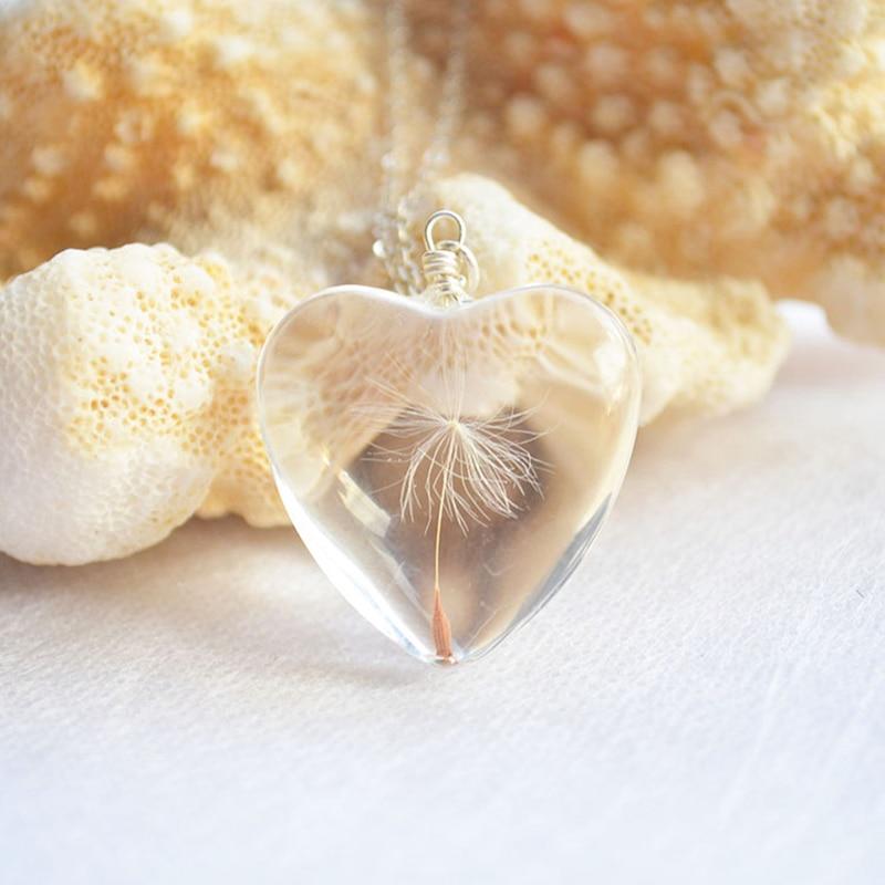 Dandelion Make a Wish Real Flower Big Heart Love Colgante Collar de - Bisutería - foto 2