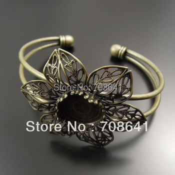 15mm Antique Bronze Plated Circle Crown Bezel Tray Filigree Flower Blank Bases Bracelet cuff Bangle Settings Crafts Wholesale