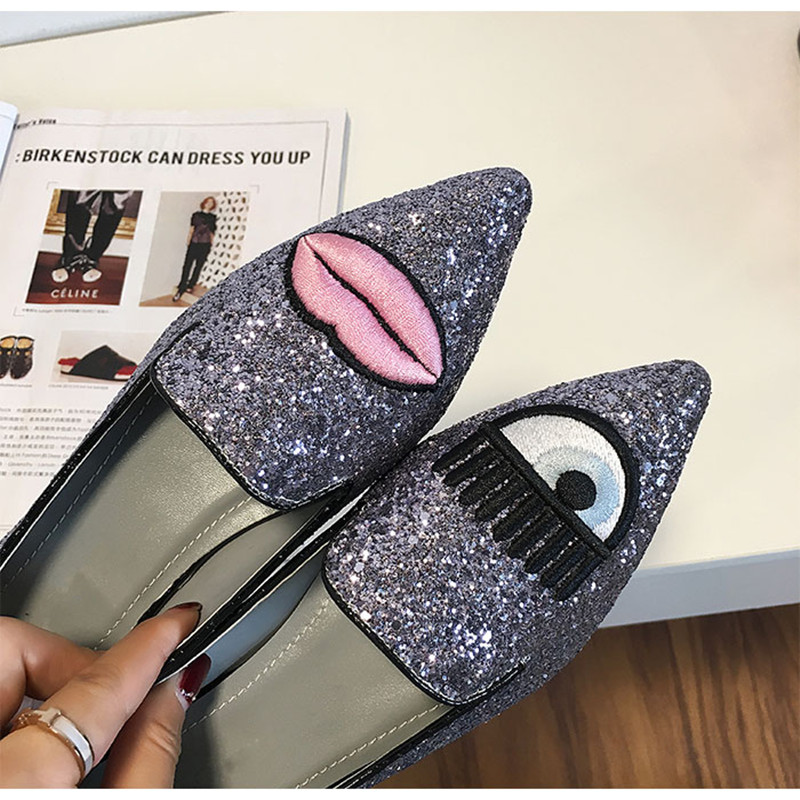 3b167c16ff1 New Women Shoes Flat& Loafers Pink Sliver Black Gray Glitter Big Eyes  Pointy Toe Flats Spring Summer Autumn Ladies Fashion Shoes-in Women's Flats  from ...