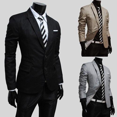 2013 traje para hombre de la llanura delgada casual