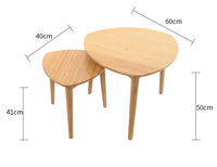 High Quality Eco Friendly Bamboo Creative Heart Shaped Coffee Table Living Room Round Tea Table Side