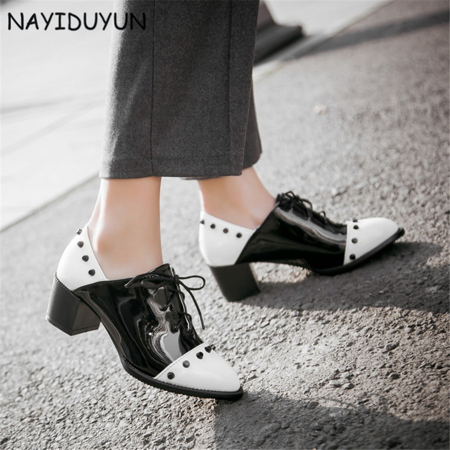 NAYIDUYUN      Women Patent Leather Spike Studded Cuban Heels Ankle Boots Lace Up Round Toe Office Pumps Casual Party Shoes New nayiduyun fashion women cow leather lace up fashion high heels wedge sneakers platform party pumps low top casual punk greepers