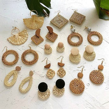 Korea Multiple Handmade Wooden Straw Weave Rattan Vine Braid Drop Earrings New Fashion Geometric Long Dangle For Women