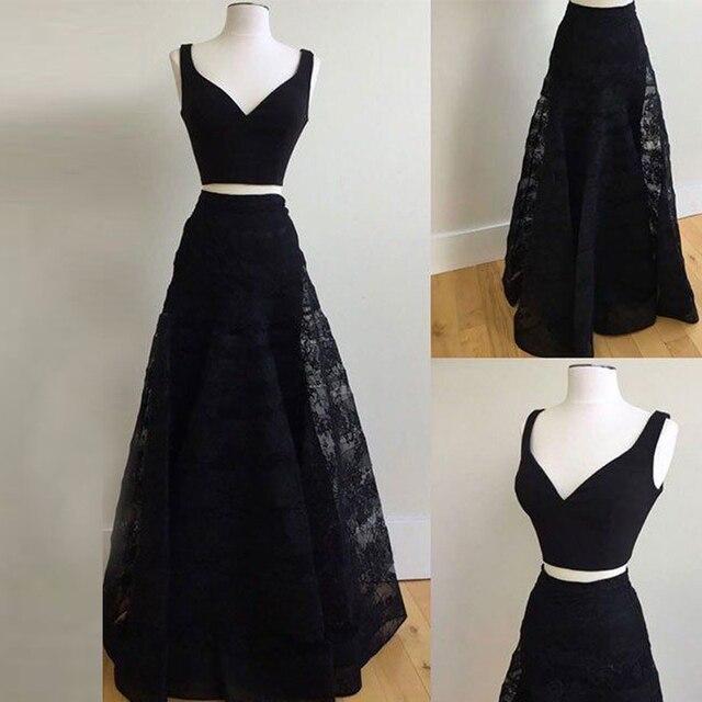 e29abadb876 Dresstells 2 Piece Prom Dress Black Straps Lace A-Line Plus Size Floor  Length Long Formal Dress Evening Gown Vestidos