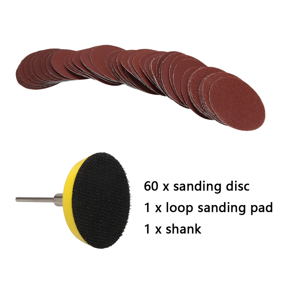 60pcs 2 Inch 50mm 100/240/600/800/1000/2000 Grits Sanding Disc Set + Loop Sanding Pad With 3mm Shank For Polishing Tools