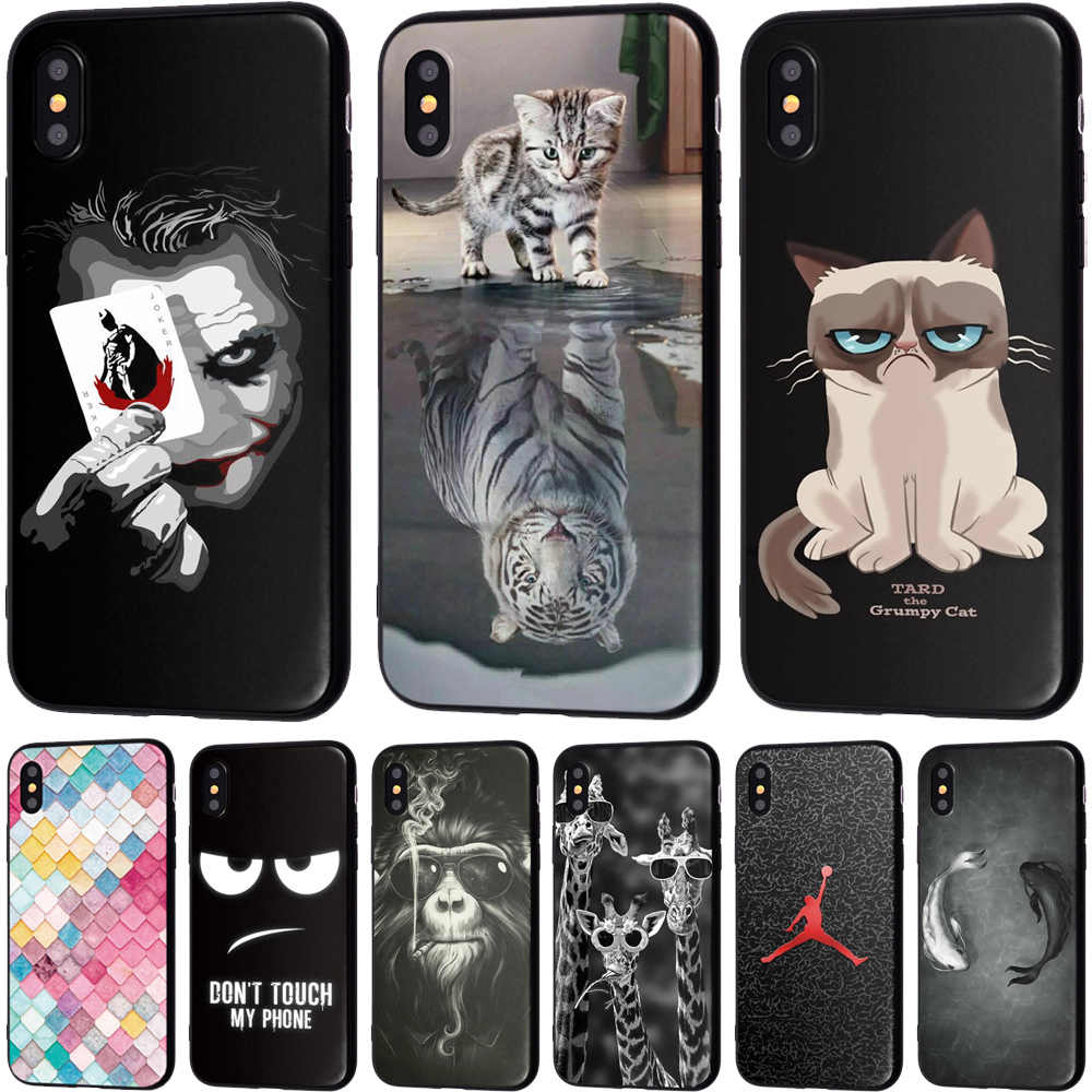 Animal Lion Wolf Soft TPU Silicone Cases for iPhone 5 S SE X Phone Case For iPhone 6s 6 7 8 Plus XS Max XR Coque Frosted Fundas
