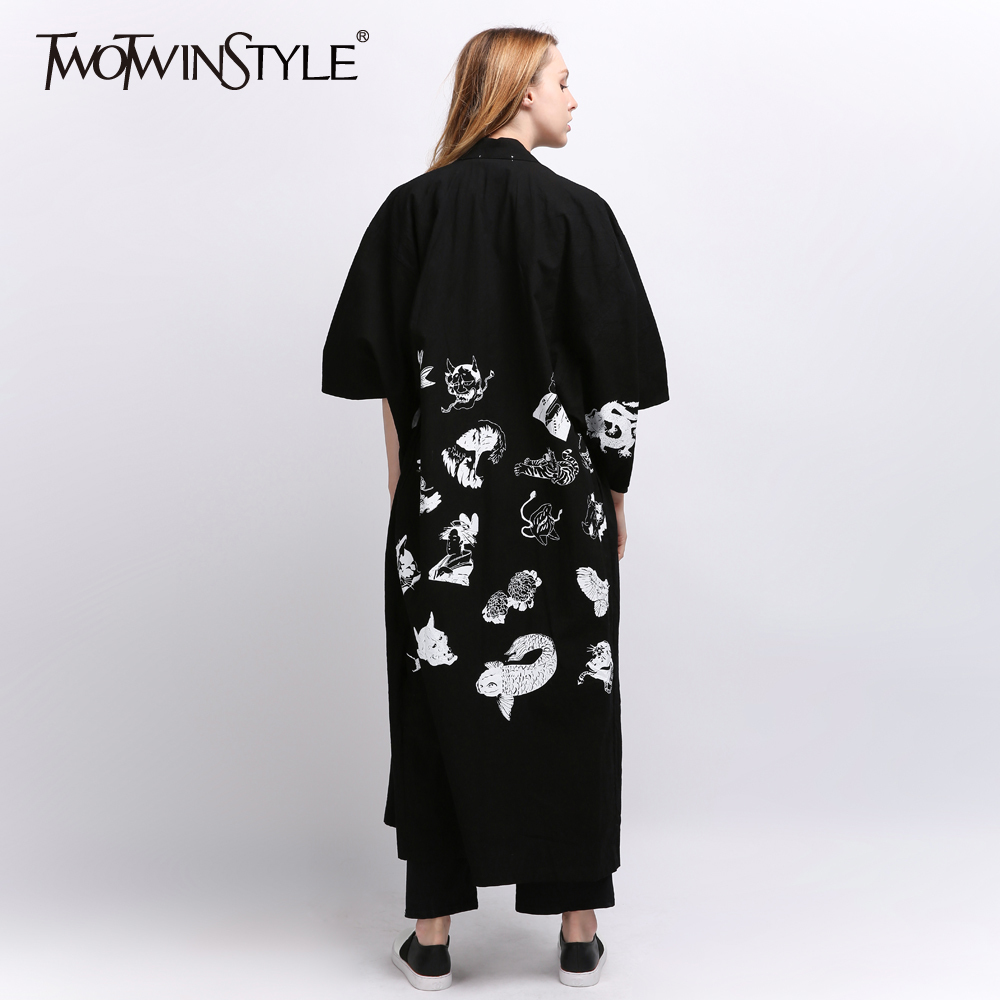 TWOTWINSTYLE Kimono Printed Women's Windbreaker Bat Sleeved   Trench   Coat Long Cardigan Black Female Casual Clothes Big Sizes 2018