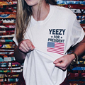 Yeezus For Presideht Kanye West Men T-shirt Women Black White American USA Flage Tee Shirt Homme Fashion Brand Clothing Jersey