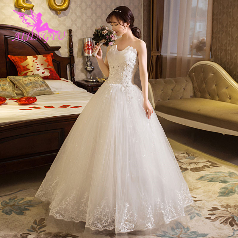 AIJINGYU 2018 Marriage Free Shipping New Hot Selling Cheap Ball Gown Lace Up Back Formal Bride Dresses Wedding Dress WK488