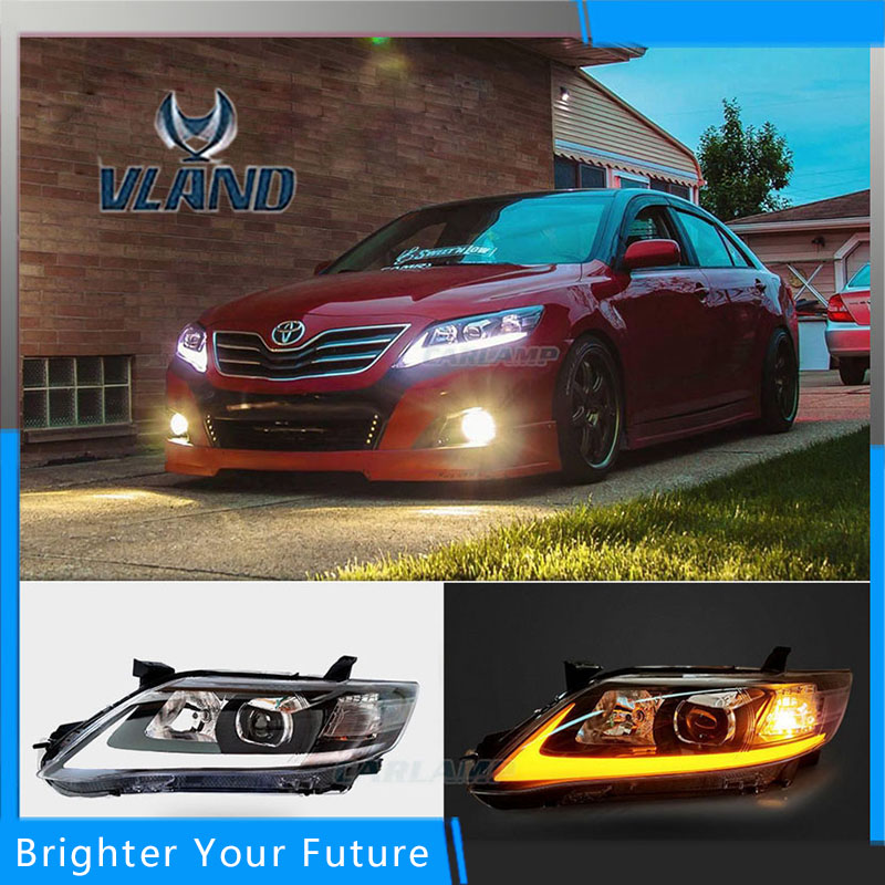 Auto Front Head Lamp Headlights Assembly For Toyota Camry 2010-2011 LED DRL Headlights Chrome  housing Front Lamp head lamp