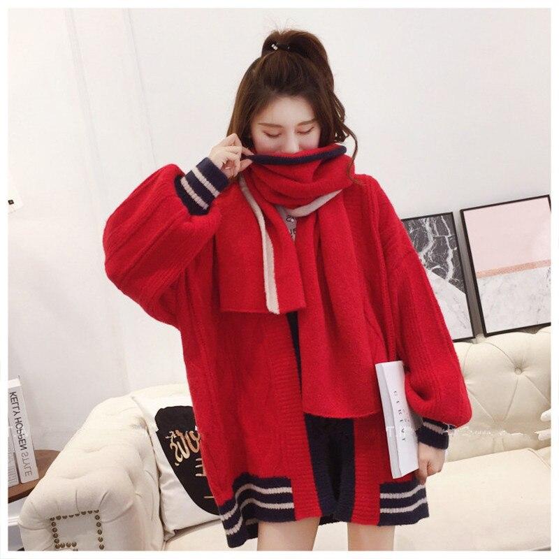 hiver Nouvelle Étudiant À Rouge Cardigan Lanterne Tricoter 2018 Beige Manches Automne Tricot Dames Lâche Manteau rouge Veste Écharpe sans w7IO07